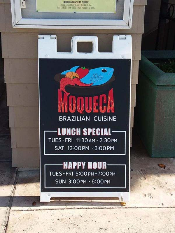 Custom Graphic Sandwichboard Sign, Moqueca, Channel Islands Harbor