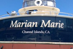 Marian Marie Custom Graphic Boat Sign in Channel Islands, CA
