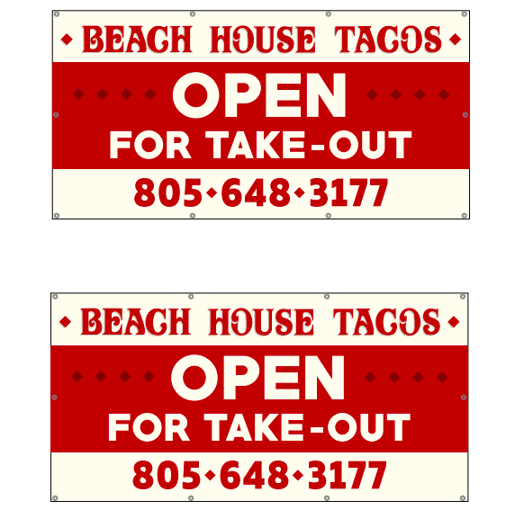 Custom Graphic Take-Out Banner Beach House Tacos